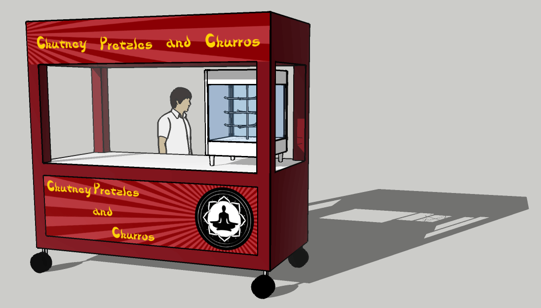 Image of a pretzel cart in 3D